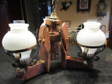 """Swirl glass 3 lantern style vintage western unique 24"""" Hanging Chandelier"""