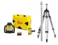 Rotating Laser Leica Rugby 610 w/ Rod Eye 120, Elevating Tripod & Rod Kit