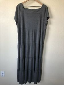Natural Life Maxi Dress Size XL Prairie Chic Boho Gray Square Neck Tiered Ribbed
