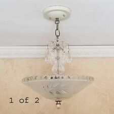 860 Stunning 40's Vintage Ceiling Lamp Fixture Glass Chandelier 3 Lights 1 of 2