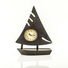Standuhr Uhr als Segelboot Pajoma Metall Glas 38,5 cm Maritim ohne Batterie Neu,