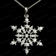 "QUALITY CRYSTAL pendant SNOWFLAKE NECKLACE winter snow 18"" CHAIN SILVER FASHION"
