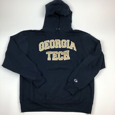 Champion Eco Fleece Georgia Tech Hoodie Mens Large Stitched Yellowjackets EUC