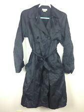 Travel Smith Women's Black Trench Coat Sz L Raincoat Belted Cotton Nylon