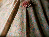 Antique Roses Paisley Light Cotton Fabric ~Rose Pink Blue Sage Brown~Dolls Quilt