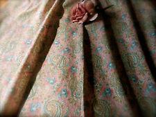 Antique Roses Paisley Light Cotton Fabric ~Rose Pink Blue Sage Brown~Dolls Quilt
