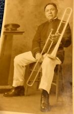 vintage Trombone Player Postcard post card Marching Band Member w/Uniform horn