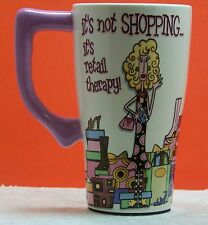 """""""It's not shopping, it's therapy"""" tall coffe cup, ceramic, white, SPOONTIQUES"""