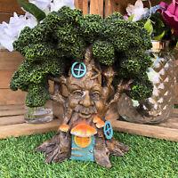Vintage Magical Fairy Pixie Green Man Treehouse Home Garden Sculpture Ornament C