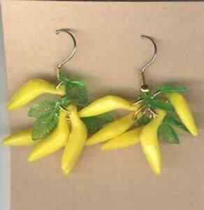 Funky Luau BANANA BUNCH BEAD EARRINGS Monkey Food Tropical Fruit Costume Jewelry
