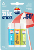 Le Tan Colour Zinc Sticks Trio SPF50+ 3 Pack  New & Sealed