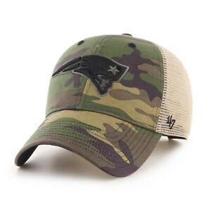 New England Patriots Hat '47 Football Adjustable Cap Army Green Camo Black Logo