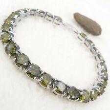 olivine quartz crystal round jewel 18k white gold gp noble bracelet