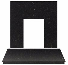BLACK GRANITE ELECTRIC GAS FIRE FIREPLACE WALL HEARTH BACK PANEL SET LARGE 54""