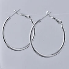 """Pretty New White Gold Filled Silver Smooth & Shiny Round 30mm 1.2"""" Hoop Earrings"""