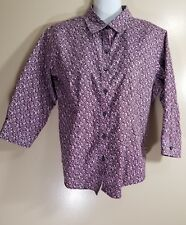 LL Bean Womens Wrinkle Free Button Up 3/4 Sleeve Floral Print Size XXS