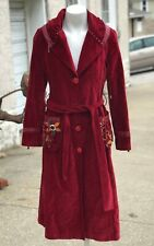 Vintage SETRMS Turkish Turkey Muslim Islamic Red Velvet Cotton Trench Coat 6