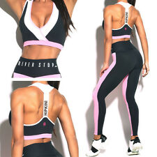 Women Yoga Set Running Bra+Pants Gym Workout Fitness Clothes Tights Sport Wear M