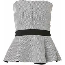 WITCHERY Black & Silver Peplum Bustier Top Size 10