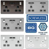 BG Nexus Metal Screwless Flatplate USB Double Socket 2 x USB Ports 3.1A Amp