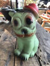 "Vintage Old Carnival Chalkware Prize ""Bonzo"" Bulldog Dog Derby Hat Antique"