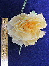 "Vintage Millinery Flower 5"" Rose soft Silk Butterscotch for Hat + Hair KR18 F"