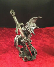 6.5 Inch Black and Silver Dragon with Sword