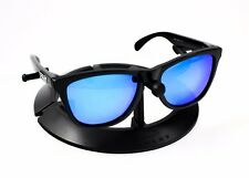 OAKLEY FROGSKINS POLISHED BLACK FRAME / REVANT ICE BLUE POLARIZED CUSTOM LENSES