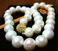 """Exquisite 14MM WHITE AKOYA SHELL PEARL NECKLACE AAA 18"""""""