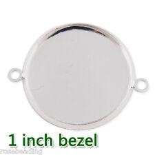 50pcs 25mm Silver Plated Round Cuff Bracelet Blank Bezel C1890