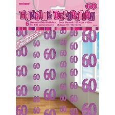 6 Happy 60th Birthday Pink Sparkle Prismatic 5ft String Party Decorations