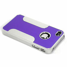 New Purple Premium Aluminum and Plastic Hybrid Hard Case For iPhone 4 4S 4G