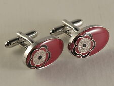 Men's Red Flower Print Oval Suit Cufflinks