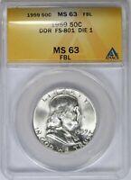 1959 ANACS 50C Silver Franklin Half Dollar MS63FBL DDR FS-801 DIE 1 *6230956