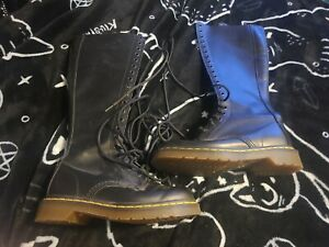 Dr. Martens Black Leather Laces Tall Knee High Fashion Boots Size 5M 6L
