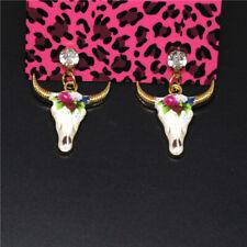 Betsey Johnson Women Stand Earring Cute Pattern Bull Head Crystal Enamel