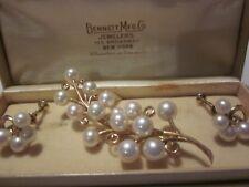 Early Vintage Mikimoto 14k YG Genuine Akoya Pearls Cluster Earrings & Brooch Set
