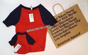 NEW American Apparel Poly-Cotton Sleeve Dog Raglan Ribbed Neckline RED NAVY XL