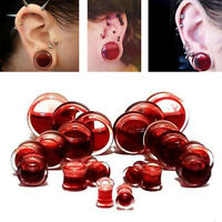 1 Pair Blood Red Liquid Filled Double Saddle Ear Plugs Gauges Flesh Tunnels