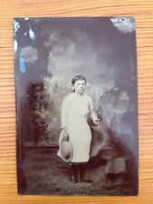 Antique 1800s Tintype Photograph Little Girl White Dress Button Up Boots Hat