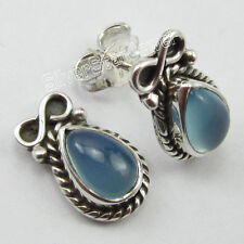 """925 Solid Silver Authentic AQUA CHALCEDONY DROP Gemset NEW Post Earrings 0.6"""""""
