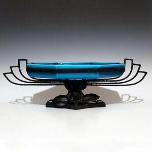 Large French Sevres Paul Milet Ceramic Blue Glazed Centerpiece Iron Stand