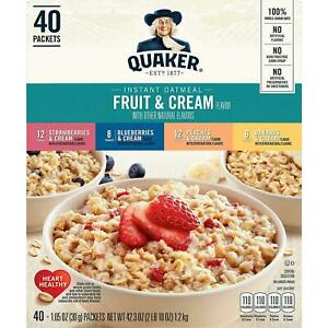 40 QUAKER OATS INSTANT OATMEAL FRUIT & CREAM PACKETS VARIETY BOX 40 PACKETS