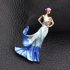 Fashion Jewelry Enamel Crystal Elegant Lady Charm Betsey Johnson Brooch Pin Gift