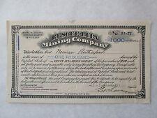 RESCUE-EULA MINING COMPANY.  Stock Certificate Nevada Corporation