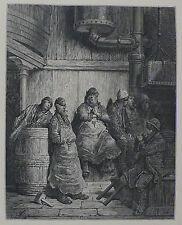 Doré-Londres; 'cervecero's Men' , antiguo grabado en madera, C.1870