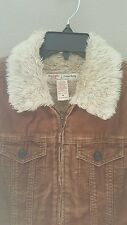 ABERCROMBIE & FITH Jacket Brown Corduroy MEDIUM M Fake Fur on Collar 100% Cotton