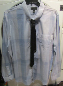 ATTENTION 4XL DRESS/CASUAL BLUE/WHITE PLAID DRESS SHIRT & BLACK TIE NWT