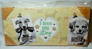 """I Love My Dog Wood Wall Sign With Two Photo Clips 17.5"""" x 7.75"""""""