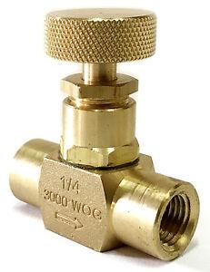 "NNI 1/4"" Female NPT Brass Needle Valve 3000 WOG Plumbing, Propane, Gauge"
